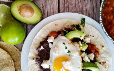 Mexicansk inspireret tortillas, med spejlæg.